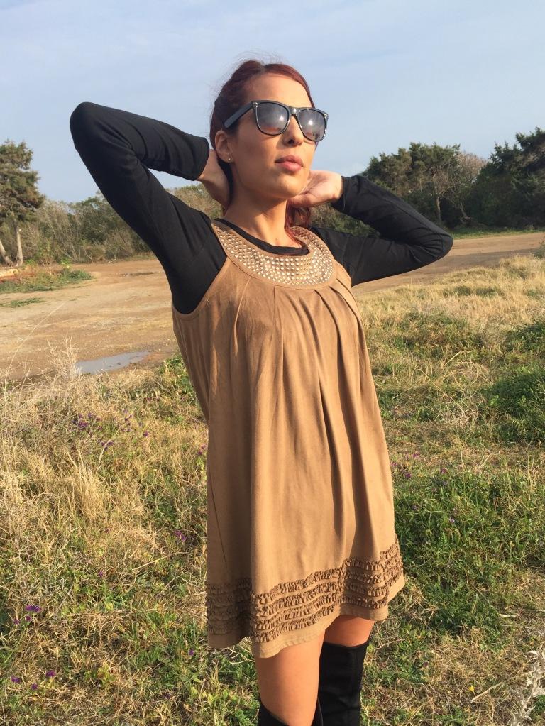 vestido de ante marron