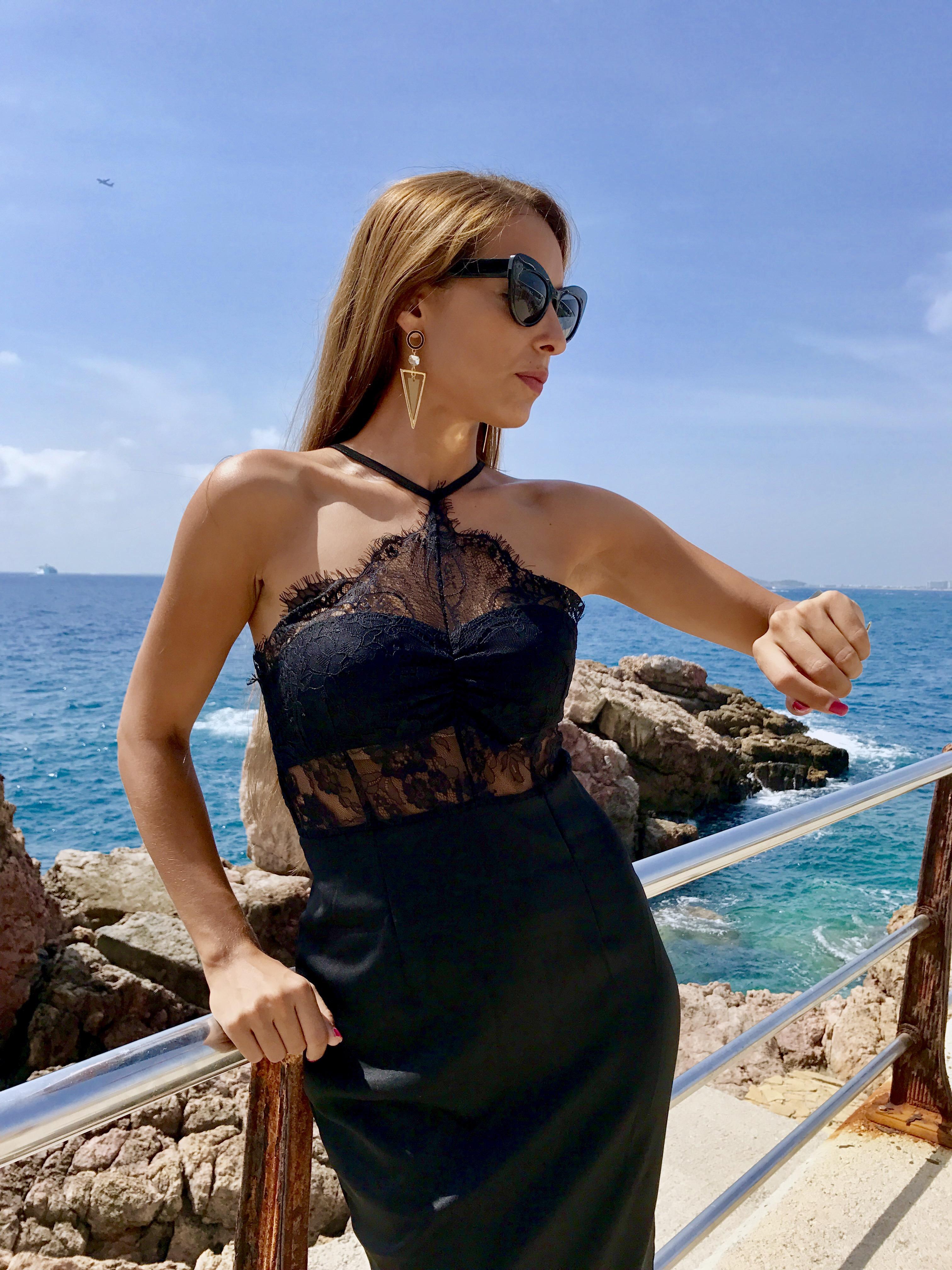Pendientes para vestido negro de encaje